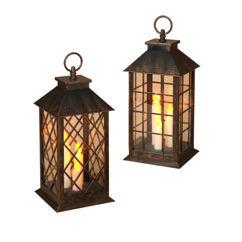 12 in. Battery Operated Lantern with Candle (2-Pack)