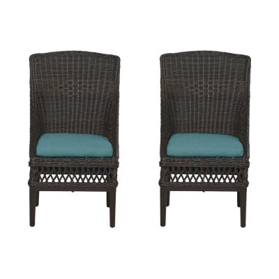 Woodbury Dark Brown Wicker Outdoor Patio Dining Chair with CushionGuard Charleston Blue-Green Cushions (2-Pack)