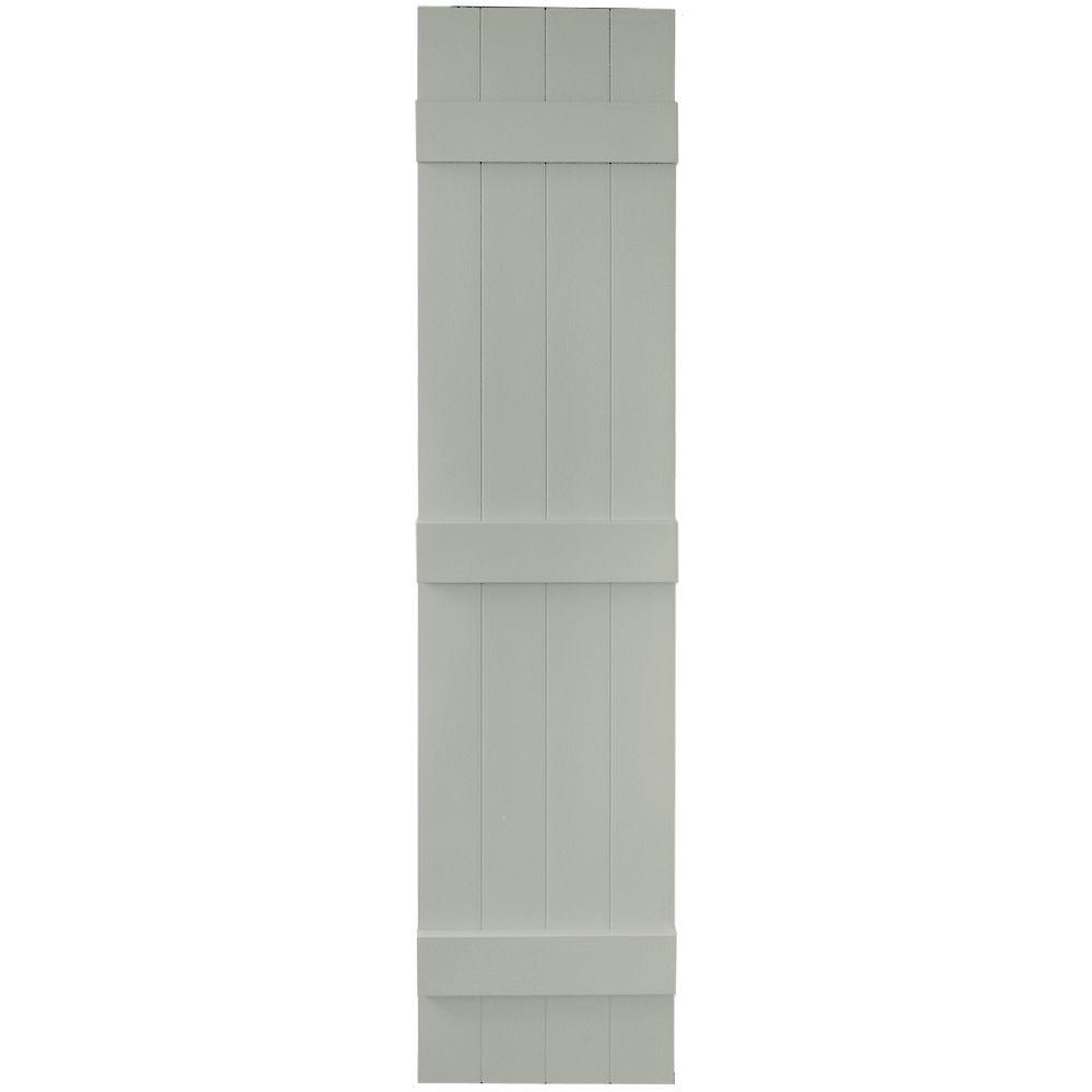 Builders Edge 14 in. x 63 in. Board-N-Batten Shutters Pair, 4 Boards Joined #284 Sage
