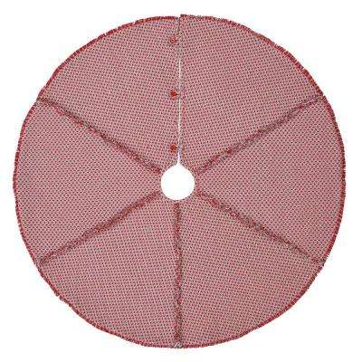 48 in. Tannen Deep Red Traditional Christmas Decor Tree Skirt