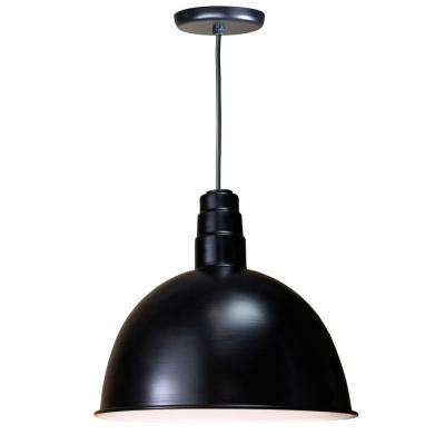 1-Light Outdoor Black Deep Bowl Pendant