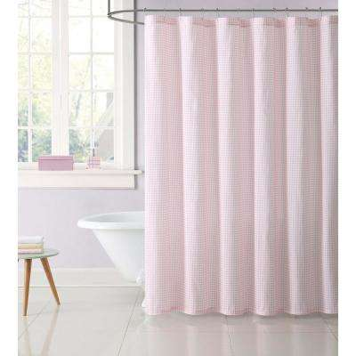 Gingham 72 in. Pink Shower Curtain