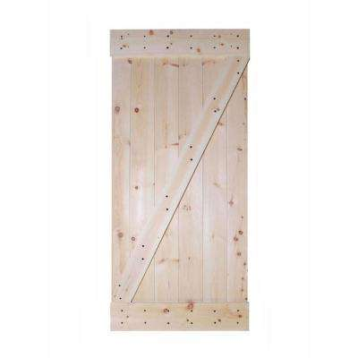 36 in. x 84 in. Unfinished Z-Bar 100% Knotty Pine Interior Barn Door