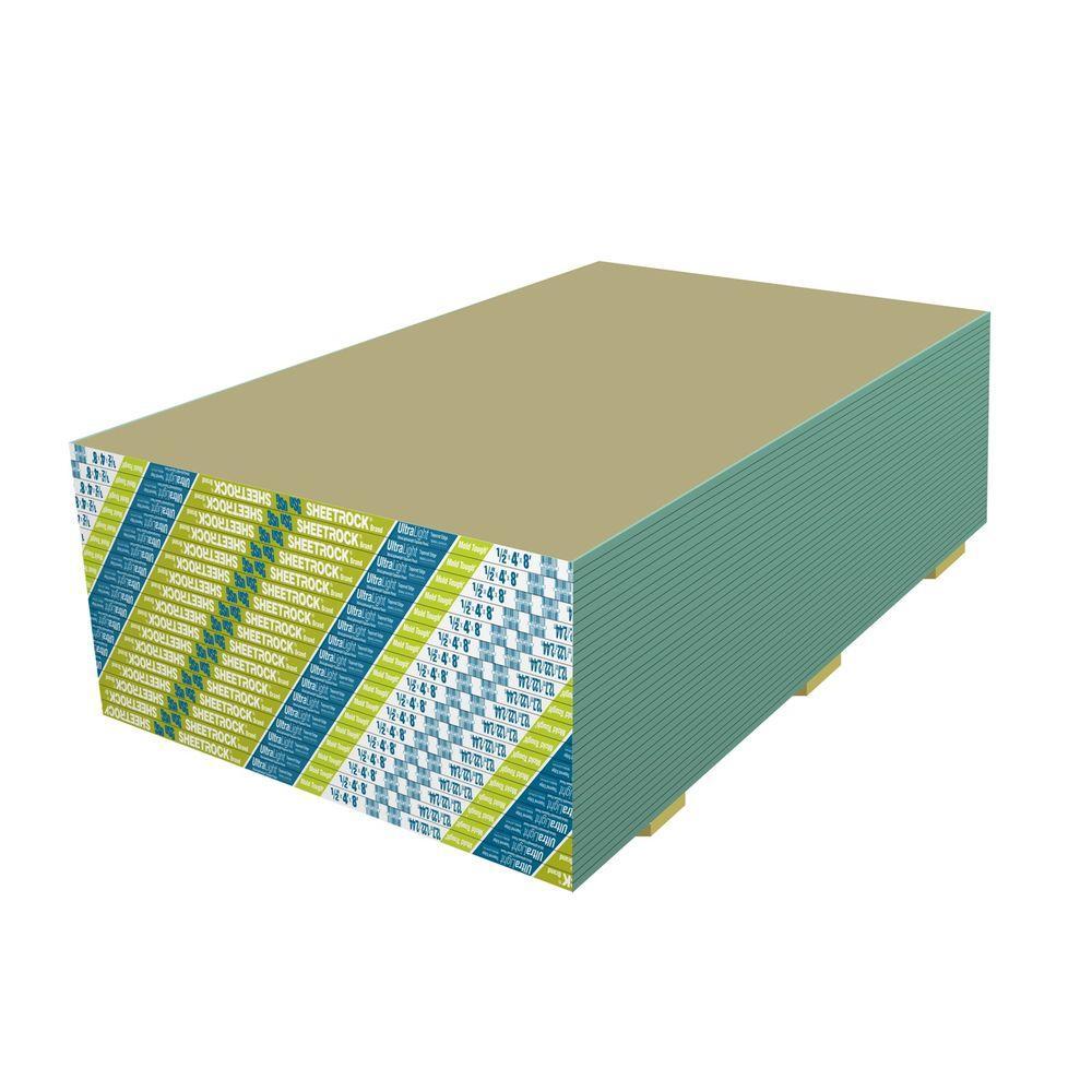 Usg Sheetrock Brand 1 2 In X 4 Ft 8 Ultralight Mold Tough Drywall 14302111708 The Home Depot