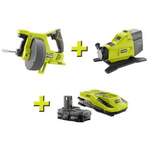 Ryobi Hybrid Transfer Pump, ONE+ Drain Auger, ONE+ Lithium-Ion Battery and IntelliPort Charger by Ryobi