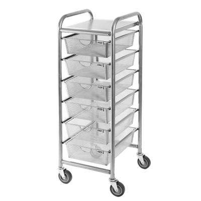 6 Drawer Steel Mesh Wheeled Organizer Cart Satin Pewter