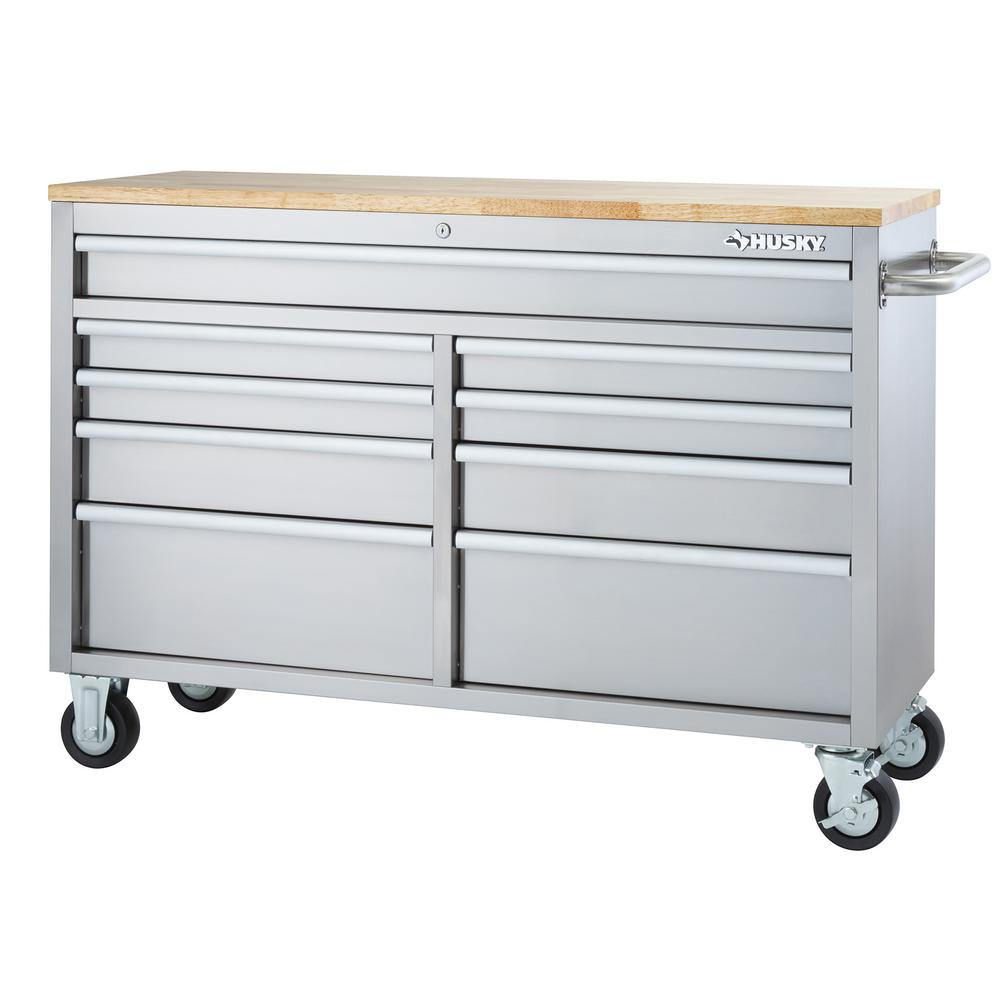 husky 52 in 9 drawer rolling workbench in stainless steel hyls 4807 the home depot. Black Bedroom Furniture Sets. Home Design Ideas