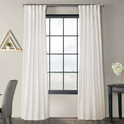 Pacific Pearl white Solid Country Cotton Linen Weave Curtain - 50 in. W x 84 in. L