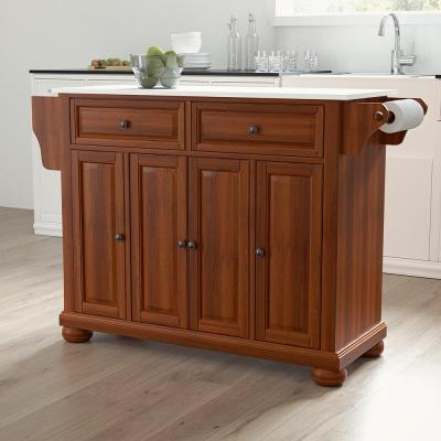 Alexandria Cherry Full Size Kitchen Island/Cart with Granite Top