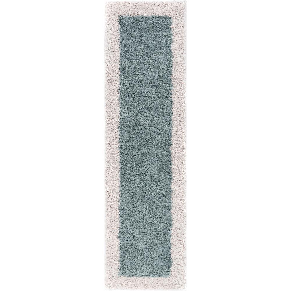 Madison Shag Cozumel Light Blue 2 ft. x 7 ft. Modern Solid Color Border Chic Runner Rug