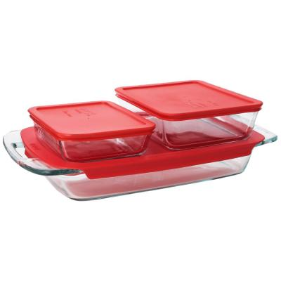 Bake N Store 6-Piece Glass Bakeware and Storage Set with Red Lids