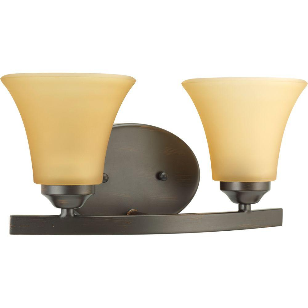 Adorn Collection 2-Light Antique Bronze Vanity Light with Etched Light Umber
