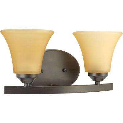 Adorn Collection 2-Light Antique Bronze Bathroom Vanity Light with Glass Shades