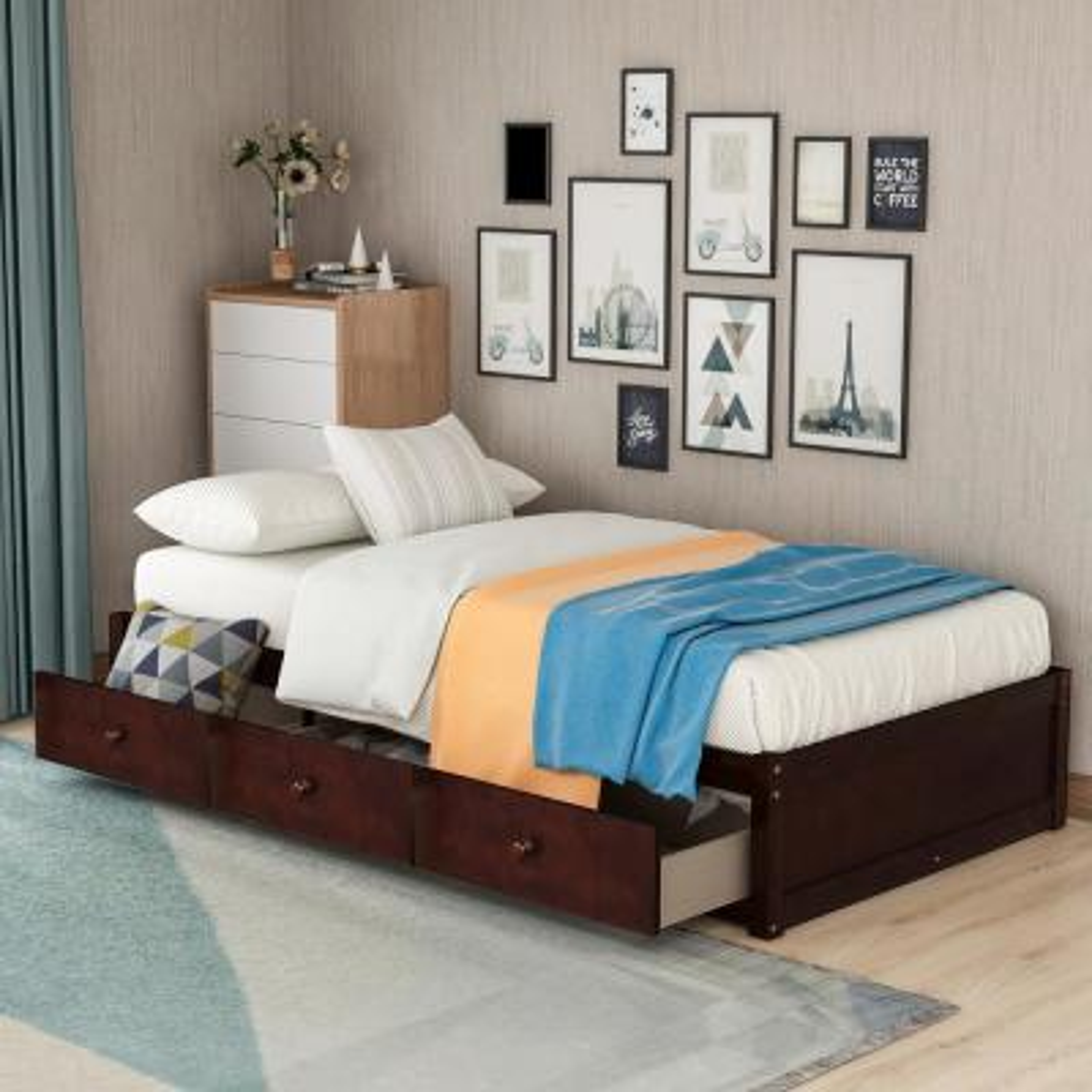 Cherry Twin Size Platform Storage Bed with 3 Drawers Storage