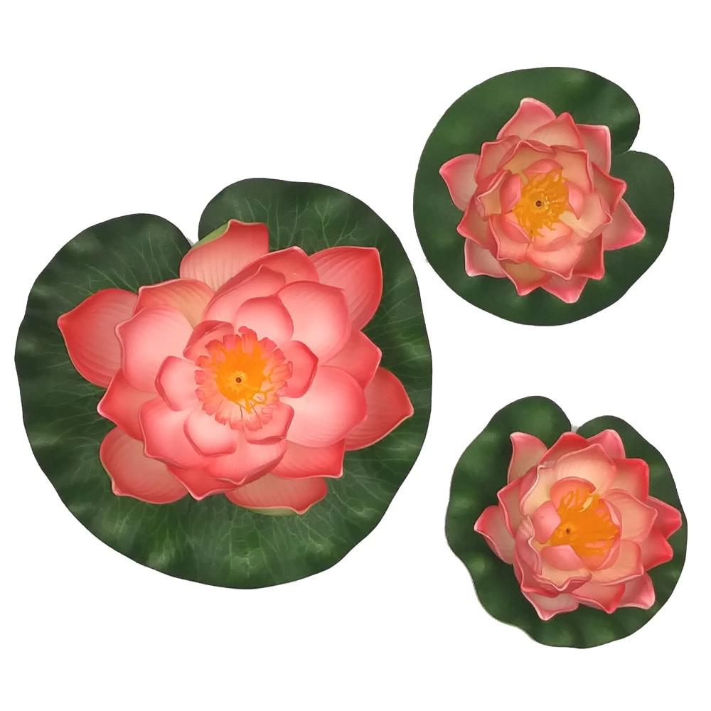 3-Piece Decorative Floating Artificial Peach Lotus Water Lilies