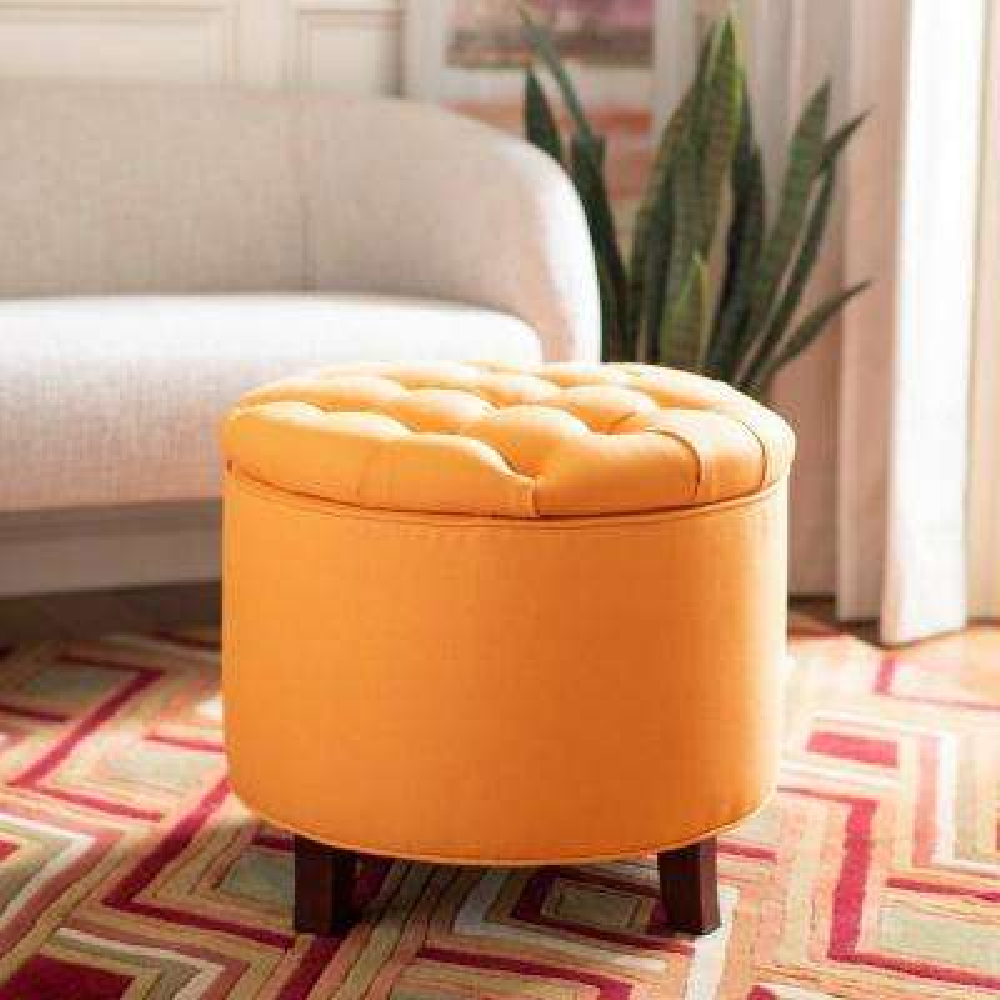 Orange round ottoman Creative Amelia Tangerine Storage Ottoman Lovelypakistaninfo Round Orange Pick Up Today Ottomans Living Room Furniture