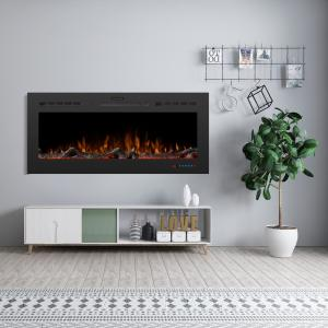 Hixson 50 in. LED Recessed Wall-Mount Electric Fireplace with 3 Flame Colors in Black