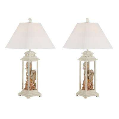 32.5 in. Cottage White Indoor Table Lamp Set