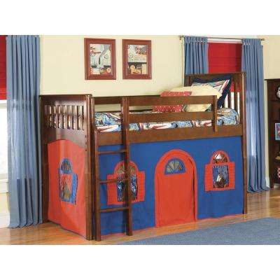 Mission Cherry Twin Low Loft Bed with Blue and Red Bottom Playhouse Curtain