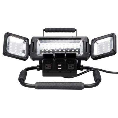 2100 Lumens LED Folding Work Light with AC and USB Power Strip
