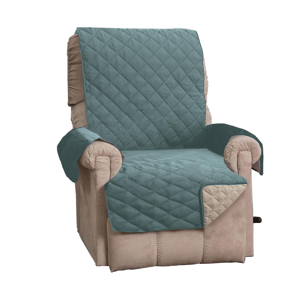Kaylee Collection Blue Silver Reversible Quilted Recliner Furniture Protector