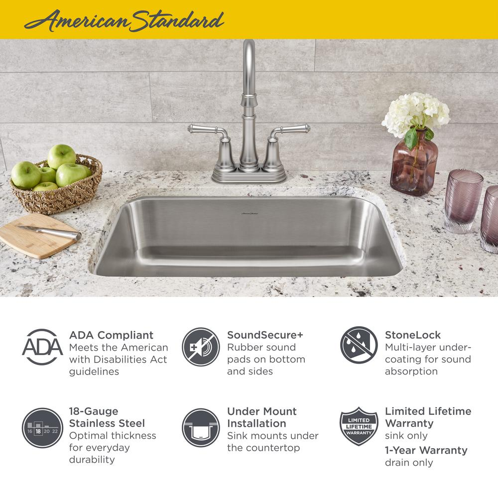American Standard Portsmouth Undermount Stainless Steel 23 in. ADA Single  Bowl Kitchen Sink
