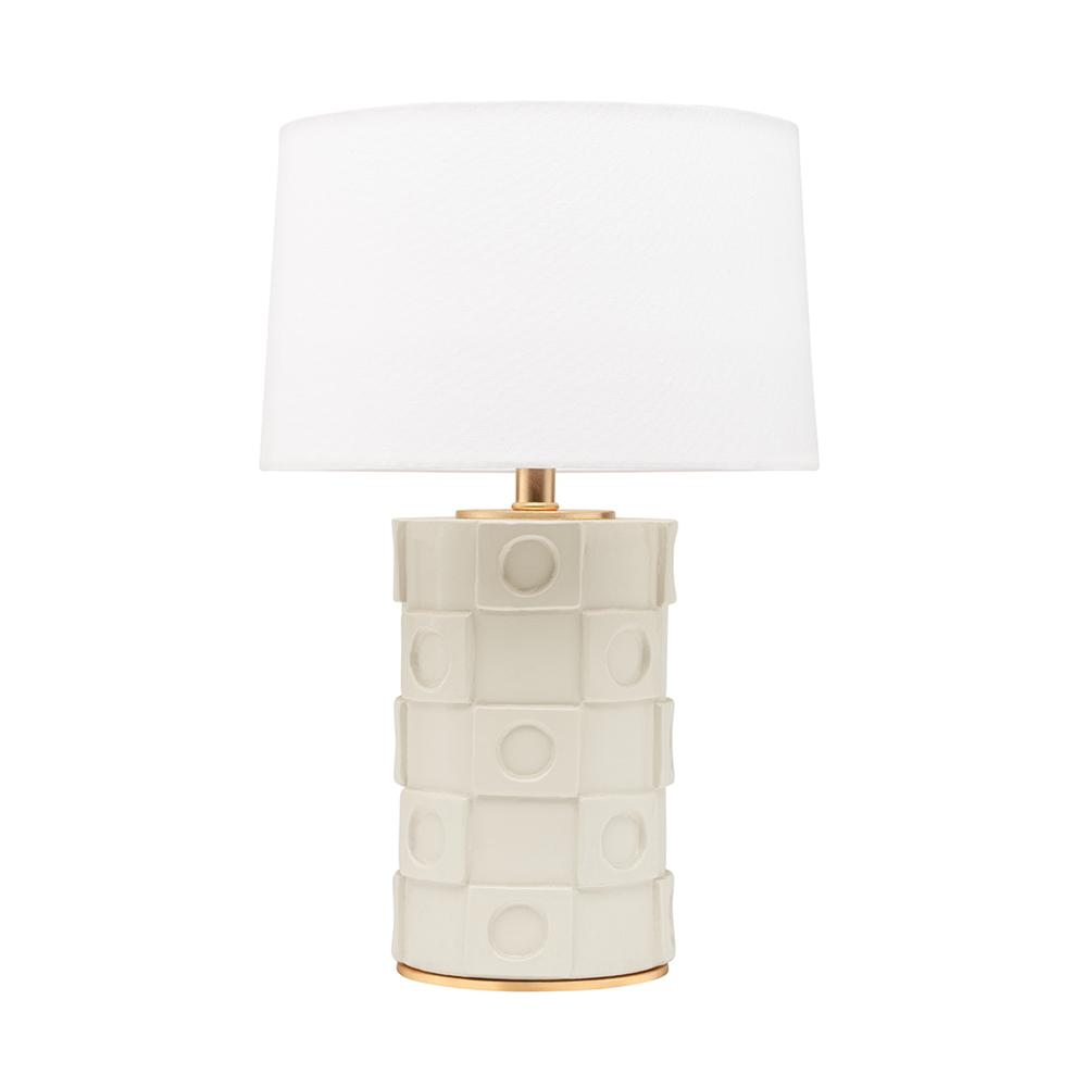 HUDSON VALLEY LIGHTING Athena 21.5 in. 1-Light Creamy White/Gold Leaf Table Lamp with Off White Shade was $390.0 now $234.0 (40.0% off)