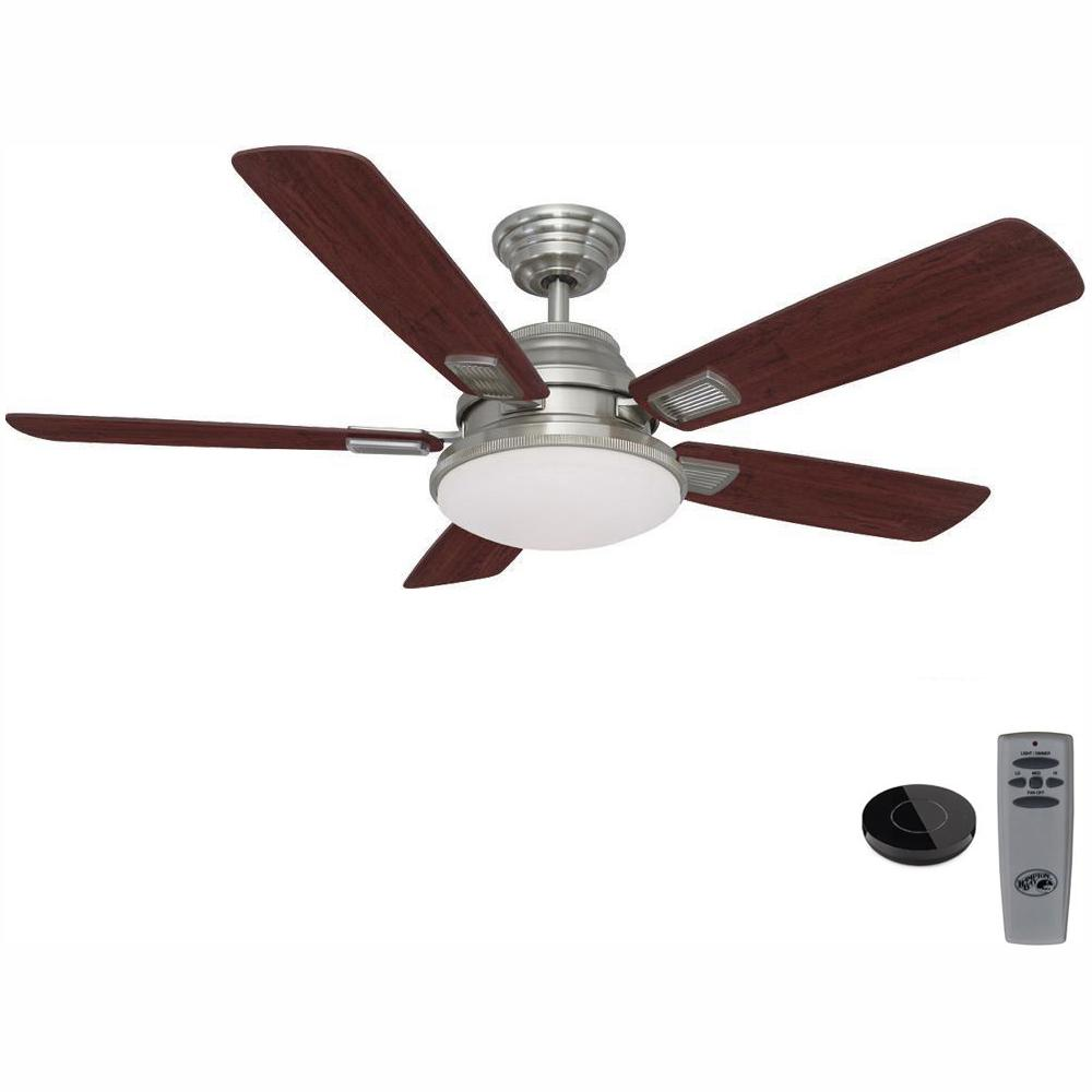 Hampton Bay Latham 52 in. LED Brushed Nickel Ceiling Fan with Light Kit Works with Google Assistant and Alexa