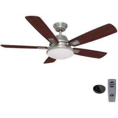 Latham 52 in. LED Brushed Nickel Ceiling Fan with Light Kit Works with Google Assistant and Alexa
