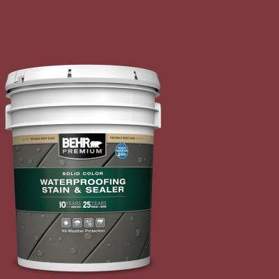 5 gal. #SC-112 Barn Red Solid Color Waterproofing Exterior Wood Stain and Sealer