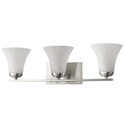 Union 3-Light Satin Nickel Vanity Light with Frosted Glass Shades