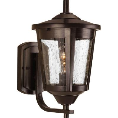 East Haven Collection 1-Light Antique Bronze 12.75 in. Outdoor Wall Lantern Sconce