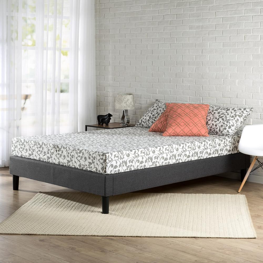 zinus scalloped upholstered dark grey full platform bed