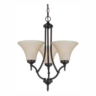 Montreal 3-Light Burnt Sienna Chandelier with LED Bulbs