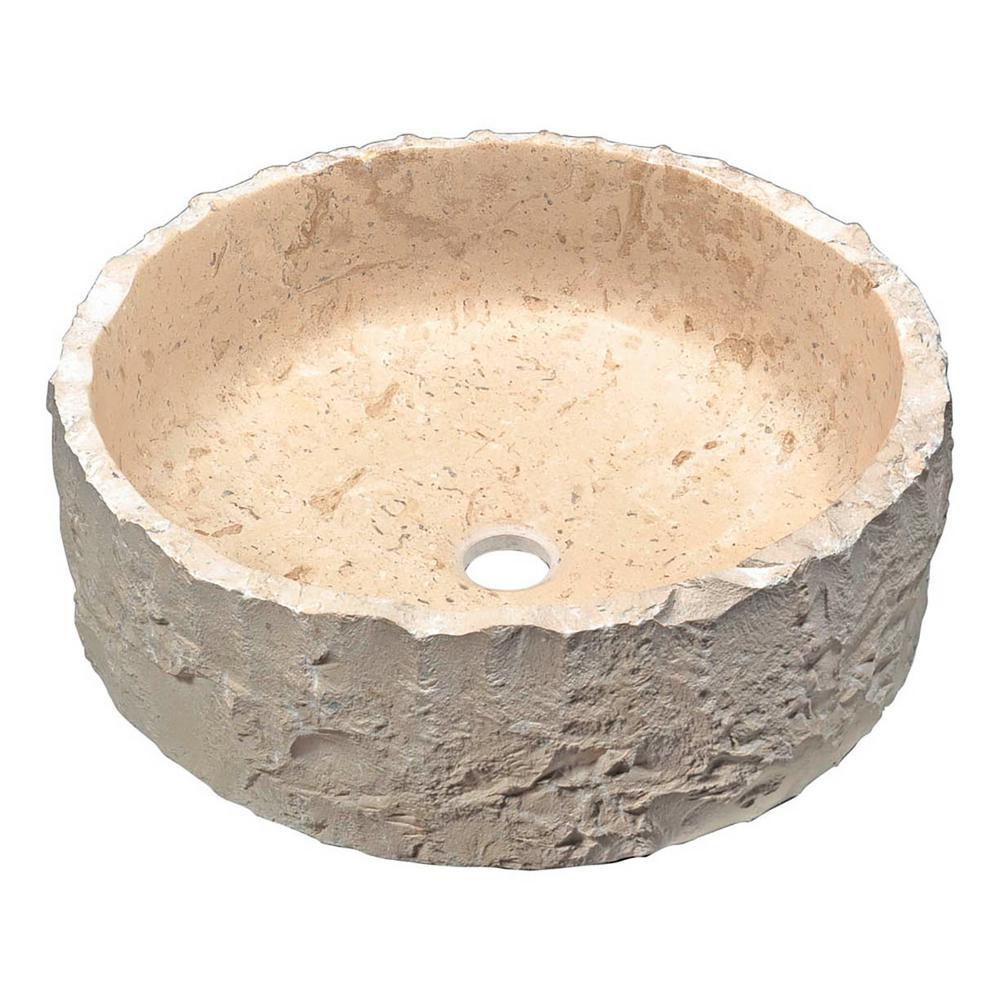 Desert Crown Vessel Sink in Classic Cream Marble