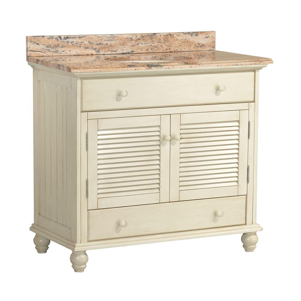 Home Decorators Collection Cottage 37 in. W x 22 in. D Vanity in Antique White with Vanity Top and Stone Effects in Bordeaux was $999.0 now $699.3 (30.0% off)