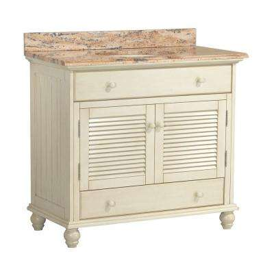 Cottage 37 in. W x 22 in. D Vanity in Antique White with Vanity Top and Stone Effects in Bordeaux