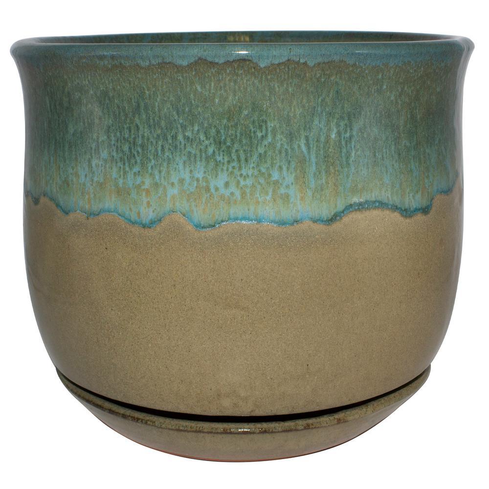 12 in. Dia Multi-Color Bella Ceramic Planter