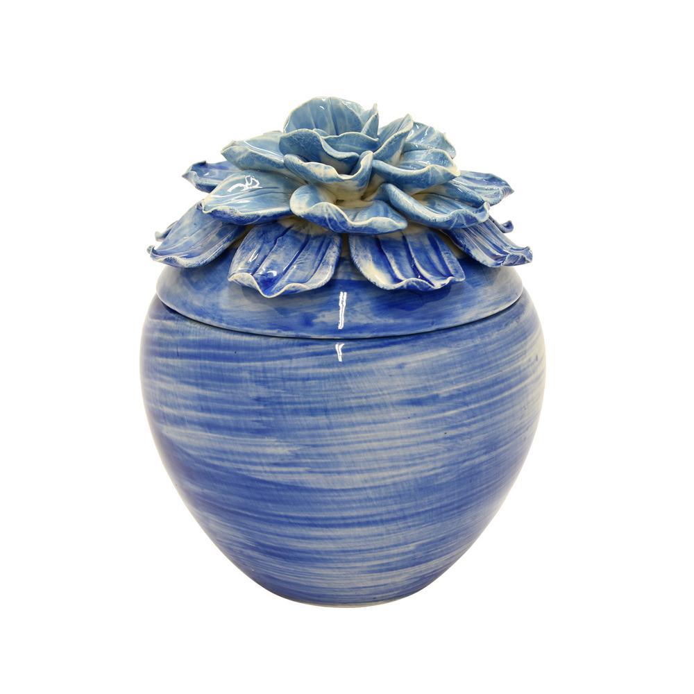 6.5 in. Blue Flower Ceramic Box
