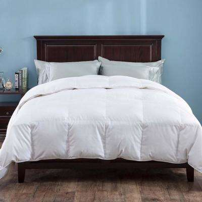 Heavy Fill White Goose Down Comforter 700 Thread Count Cotton Sateen Twin in White