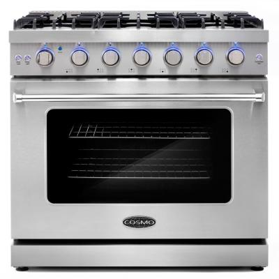 36 in. 6.0 cu. ft. Commercial Gas Range with Convection Oven in Stainless Steel with Storage Drawer