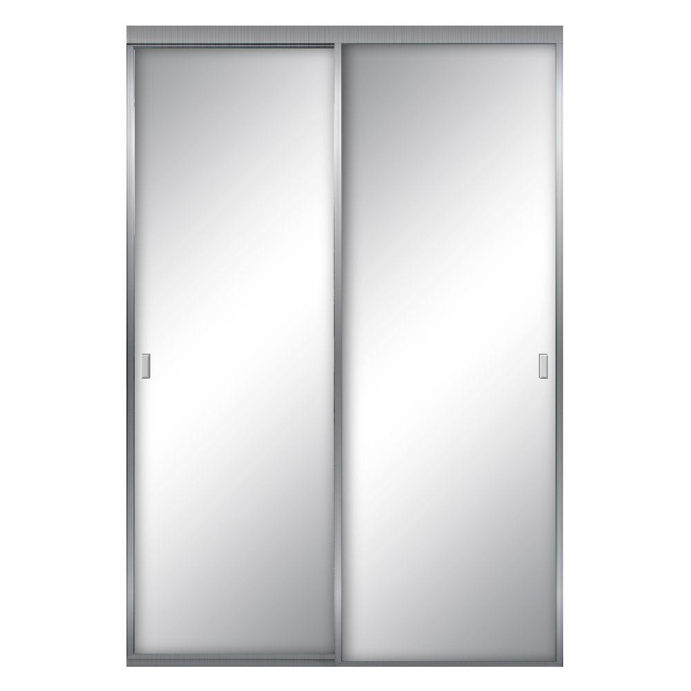 Aurora Aluminum Brushed Nickel Mirrored Sliding Door