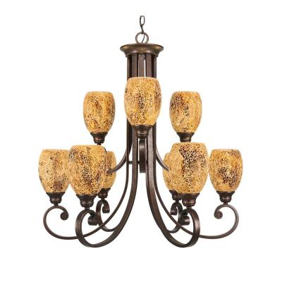 9-Light Bronze Chandelier with Gold Fusion Glass Shade