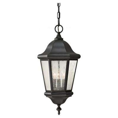 Martinsville 10.25 in. W. 3-Light Black Outdoor Pendant with Clear Seeded Glass Panels