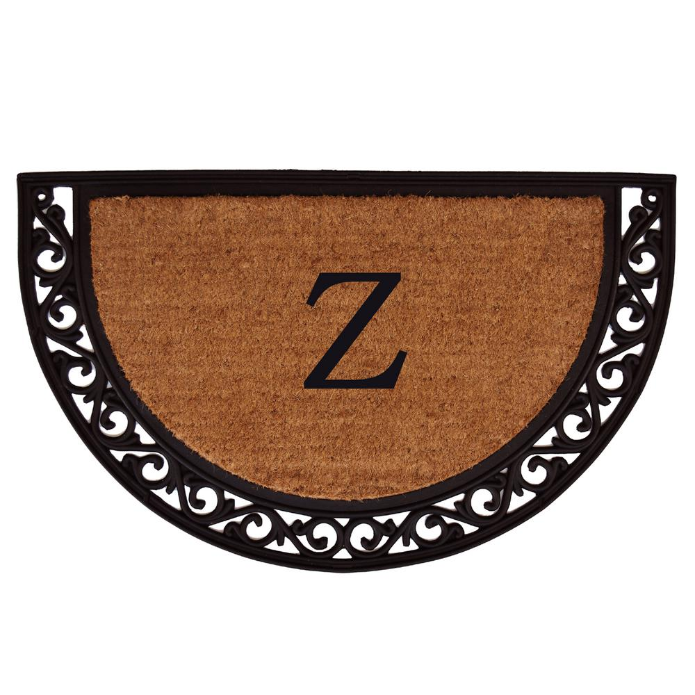Ornate Scroll 18 in. x 30 in. Monogram Z Door Mat