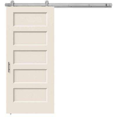 36 in. x 84 in. Conmore Primed Smooth Molded Composite MDF Barn Door with Modern Hardware Kit