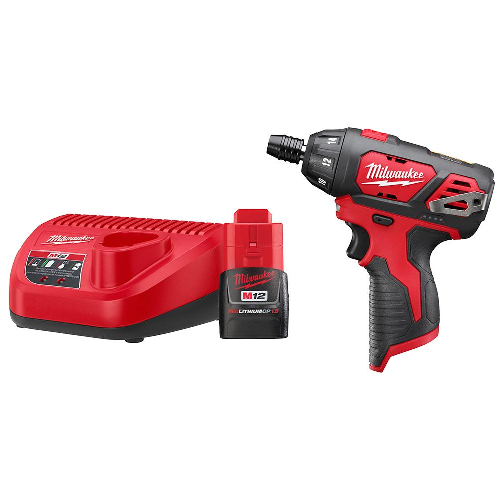Milwaukee M12 12-Volt Lithium-Ion Cordless 1/4 in. Hex Screwdriver Kit with (1) 1.5Ah  Battery and Charger
