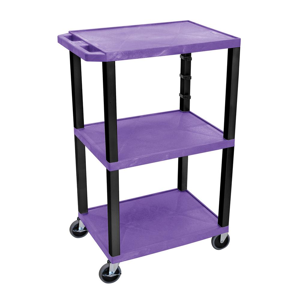 WT 42 in. H, A/V Cart With Black Legs, Purple Shelves, Pu...