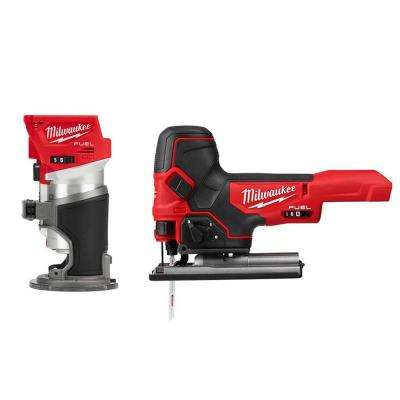 M18 FUEL 18-Volt Lithium-Ion Brushless Cordless Compact Router and Barrel Grip Jig Saw Set (Tool-Only)