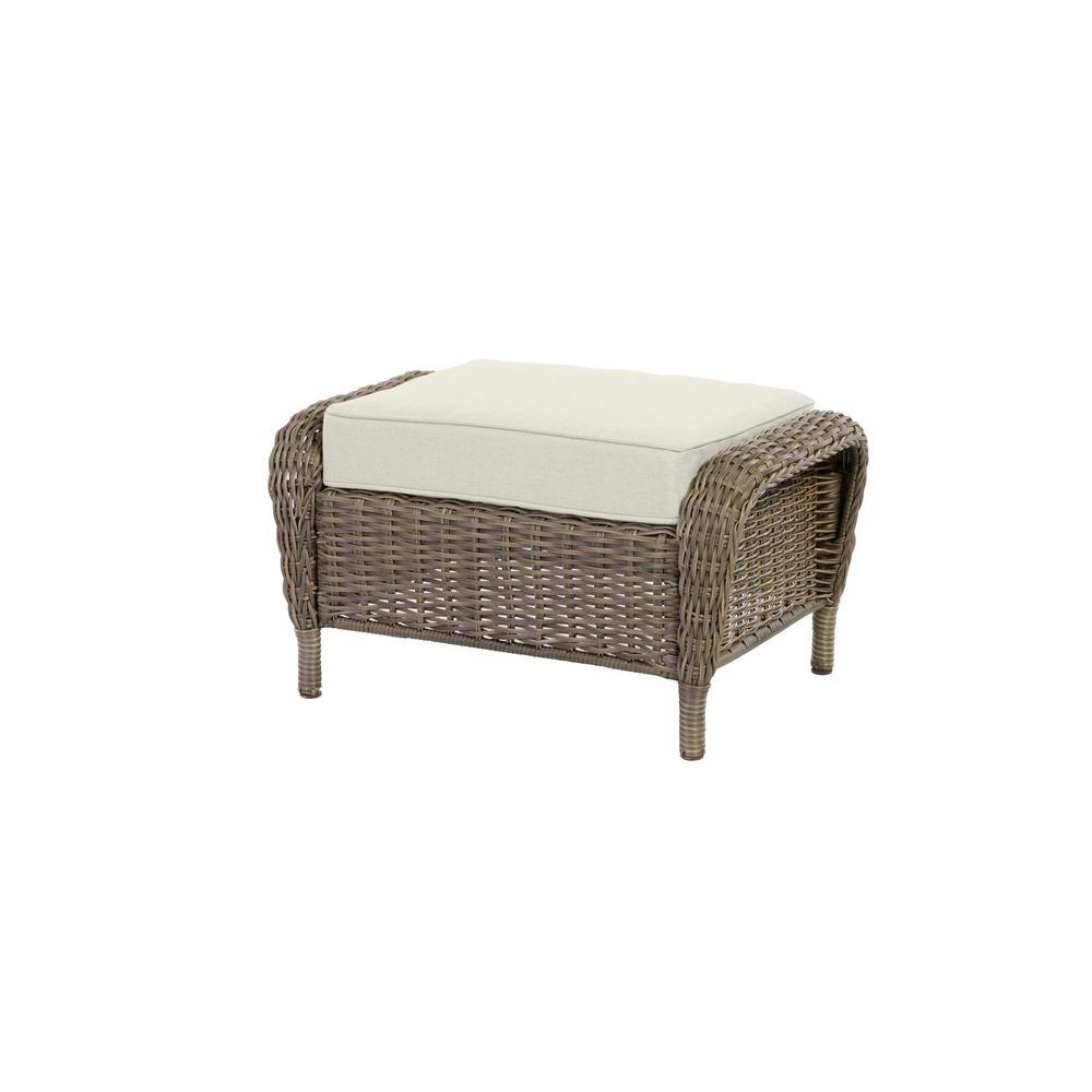 Cambridge Gray Wicker Outdoor Patio Ottoman with Bare Cushions